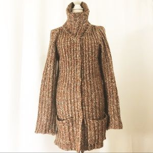 Free People Sweater Coat Funnel Neck Pockets